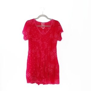 Johnny Was Pink Eyelet Mini Dress